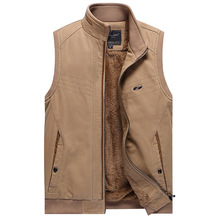 Mens Winter Fleece Vest Men Waistcoat Cotton Sleeveless Casual Jacket Male Super Warm Clothing Khaki Army Green 3XL
