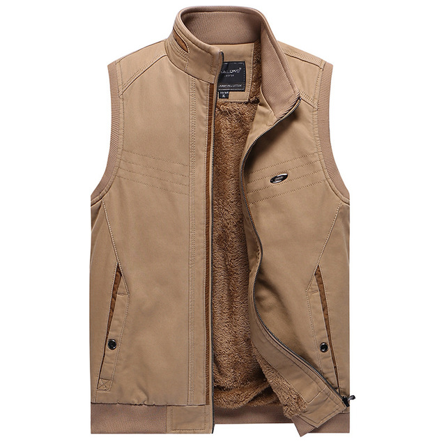 Men's Winter Fleece Vest Men Waistcoat Cotton Sleeveless Casual Jacket Male Super Warm Vest Men's Clothing Khaki Army Green 3XL