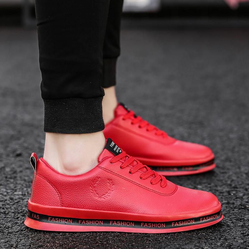 Noir Shoes Blanc Dentelle Up Sneakers Nouveau En Homme Confortable Thestron Marche 2018 Cher red Hommes Black Shoes Pas white Casaul Rouge Chaussures Cuir Shoes 7Yb6gyfv