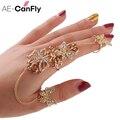 Diamantes de imitación Flor Mariposa dedo completo anillos para las mujeres oro cadena enlace armadura anillo venta al por mayor 1D2011