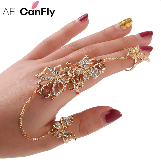 Rhinestone Flower Butterfly Full Finger Rings for Women Gold Chian Link Double A