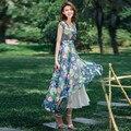 2016 Summer New Fashion Women's Bohemian Print Chiffon Dress Plus Size Short Sleeve Long Print Dress V Neck Floor-Length Dress