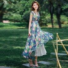 2016ฤดูร้อนแฟชั่นใหม่ของผู้หญิงชีฟองพิมพ์โบฮีเมียนชุดขนาดบวกแขนสั้นยาวชุดพิมพ์คอVชั้น-ความยาวชุด