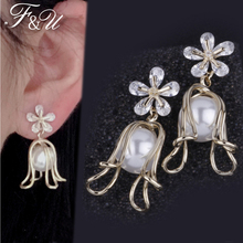 F&U Natural Fresh Water Pearl Crystal Copper With Electroplating Golden Color Flora Drop Earrings Fashion For Women cocoangel natural fresh water pearl copper