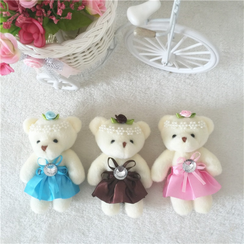 For Christmas Gift NEW 12CM 10pcs/lot pp cotton kid toys plush doll mini small teddy bear flower bouquets bear for wedding(China)