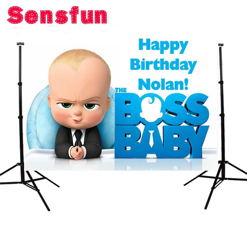 Sensfun Polyester Photocall Boss Baby Birthday Custom Photo Studio Backdrop Background 200x150cm