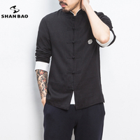 large size men's high quality cotton and linen long sleeved shirt 2019 spring original Chinese style casual shirt black beige