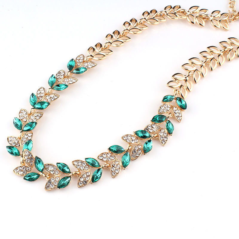 Jiayijiaduo New Wedding Jewelry Sets For Charming Women Dresses Dating Accessories Green Glass Crystal Necklace Earrings Sets #3