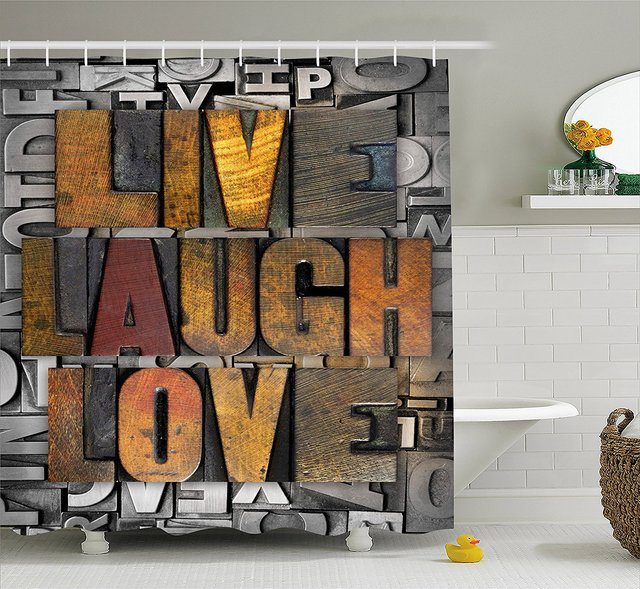 Live Laugh Love Shower Curtain Saying Promoting The Sacred Values Of Human Life In Colorful A Pattern Cloth Bathroom Decor Set