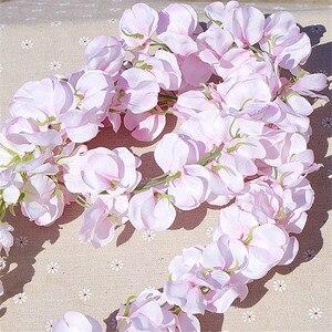 Image 5 - 11PCS Artificiale Fiore di Glicine vite 120 centimetri Singolo Silk140 Serie Fiori Piante FAI DA TE per la casa di Nozze Decorazione Per La Parete di fondo