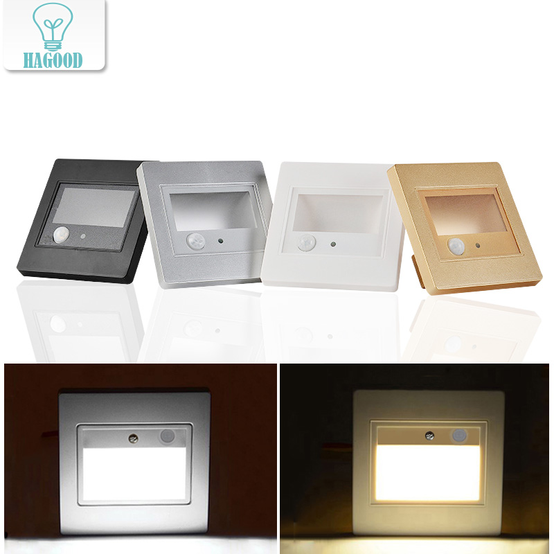 PIR Motion Sensor LED Stair Night Light Room Beside Lamp LED Wall Sconce Steps Ladder Wall Lamp Warm / Cold White