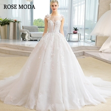 Rose Moda Cap Sleeves Wedding Dresses 2019 Train Ball Gown
