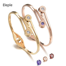 Eleple Roman Letter Zircon Bracelets for Women Spring Opening Stainless Steel Mothers Day Gifts Jewelry Manufacturer S-SL3B