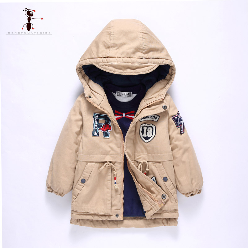 Kung Fu Ant 2017 New Arrival Cotton Warm Hooded Army Khaki Winter Children's Winter Jackets Manteau Fille Hiver 2885