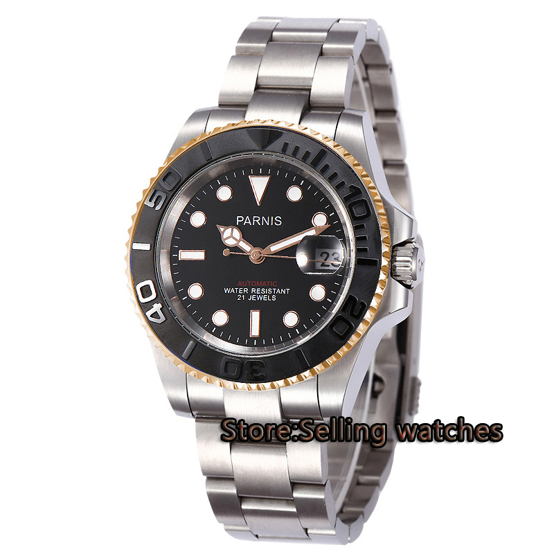 лучшая цена 40mm Parnis Black dial luminous Sapphire glass ceramic bezel MIYOTA Automatic movement Men's watch