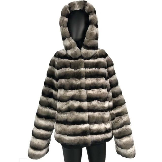 diseño innovador 30c0a 3f78a Barato Abrigo de piel conejo rex Real