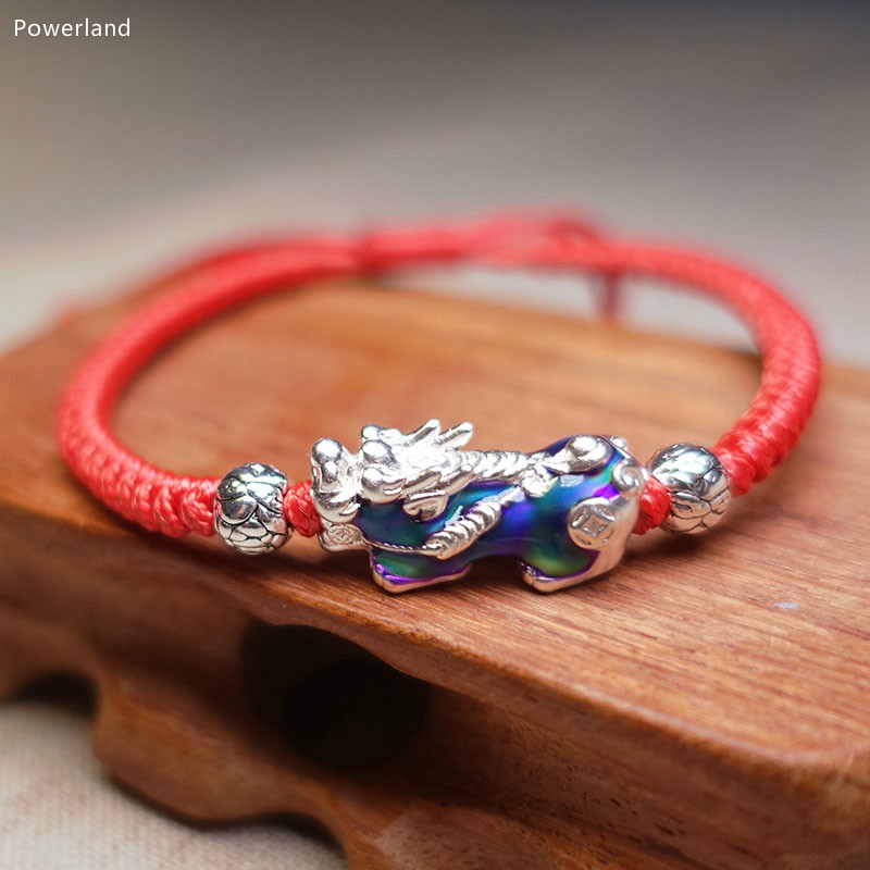 Real S990 Sterling Silver Chameleonic Brave Troops Fortune Bracelet Lucky Pixiu Bangle  Fashion  Gift Handmade  Jewelry bracelet