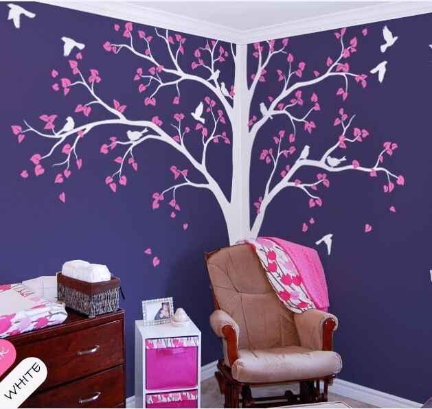 1e231c37c590 ... Full Corner Tree Wall Sticker Nursery Kids Room Wall Decor Set Of Two  Corner Tree Vinyl ...