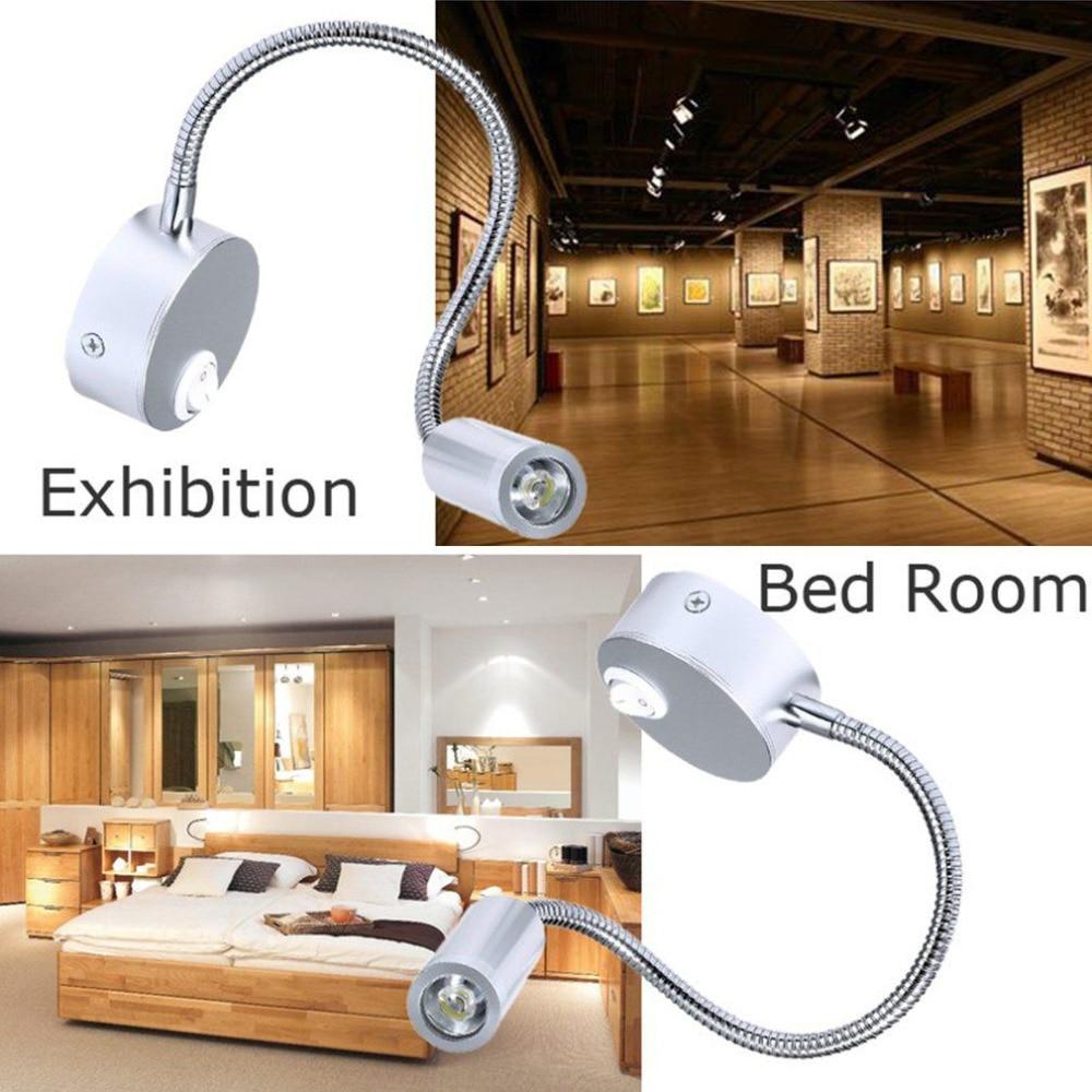 Silver Aluminum Flexible Hose LED Wall Lamp 1W Arm Light White Warm Light Bathroom Bedroom Bedside Reading Study Light