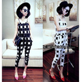 2016 New vintage jumpsuits for women harem pants summer plaid spaghetti strap geometric print woman rompers overalls white,black