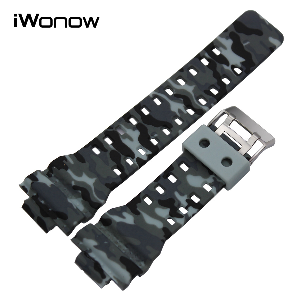 Silicone Rubber Watchband 16mm x 29mm Convex Strap Men Women Replacement Watchband Steel Buckle Wrist Bracelet Black White Camo black blue gray red 18mm 20mm 22mm waterproof silicone watchband replacement sport ourdoor with pin buckle diving rubber strap