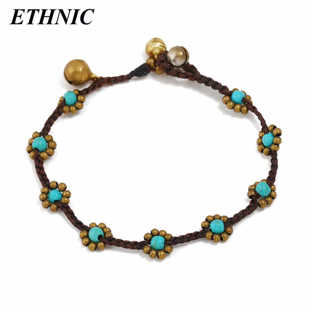 Vintage Pretty Handmade Stone Alloy Flower Rope Chain Bell Charm Bracelets for Women Fashion A Bracelet Wholesales