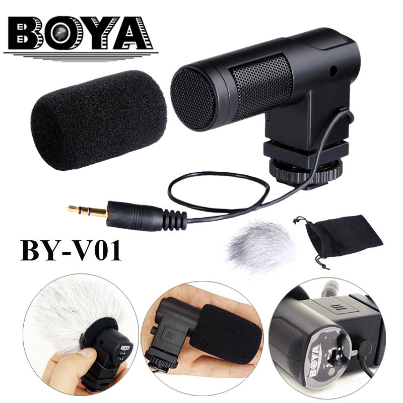 Free shipping!!! BOYA BY-V01 Stereo X/Y Mini Condenser Microphone / Mic for Canon Nikon Pentax Sony DSLR Camcorder business data processing