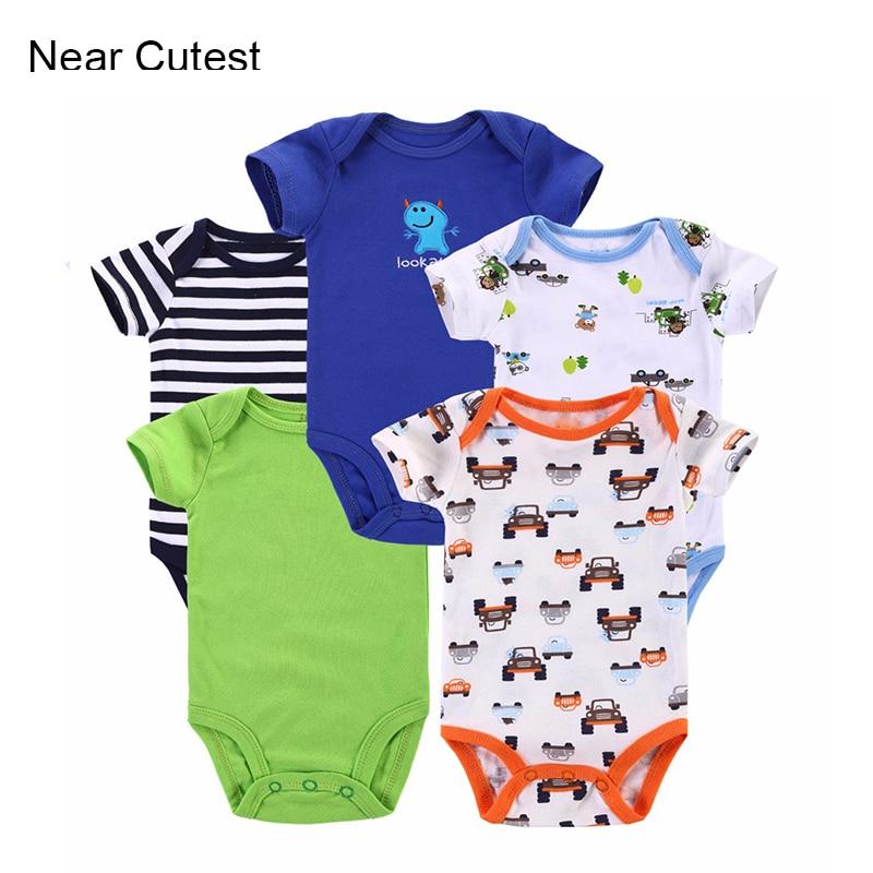 Cutest 5pcs / lot lähedal Baby Bodysuits 100% puuvilla beebi poisid - Beebiriided - Foto 1