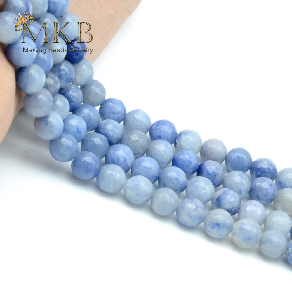Perles Blue Aventurine Stone Natural Round Beads For Jewelry Making 4 6 8 10 12mm Spacer Beads Women Diy Bracelet Wholesale Beads Jewelry & Accessories