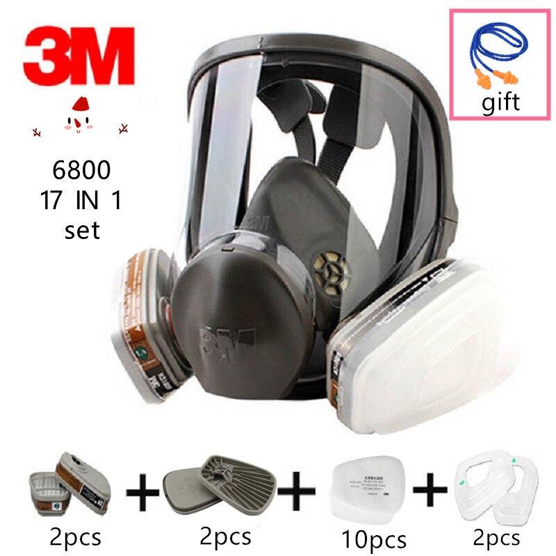 Humor 17 In 1 Original 3 M 6800 Volle-gesicht Spray Farbe Gas Maske Atemschutz Dual Aktivkohle Filter Chemische Industrie Pc Objektiv
