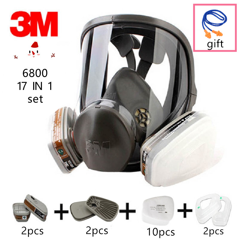 Güvenlik ve Koruma'ten Kimyasal Gaz Maskeleri'de 17 In 1 orijinal 3M 6800 tam yüz sprey boya gaz maskesi maskesi çift aktif karbon filtreler kimyasal endüstriyel pc Lens title=