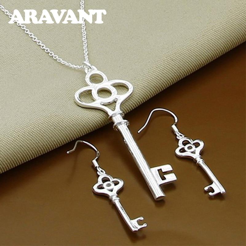 925 Jewelry Set Keys Pendants Necklace Drop Earrings For Women Silver Jewelry