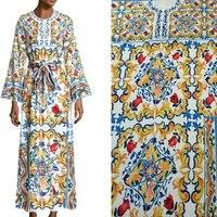 DGV Polyester Silk Fabric Handicrafts Majolica Prints Silk Stretch Satin Fabric Fashion Show Long Dress Imitate