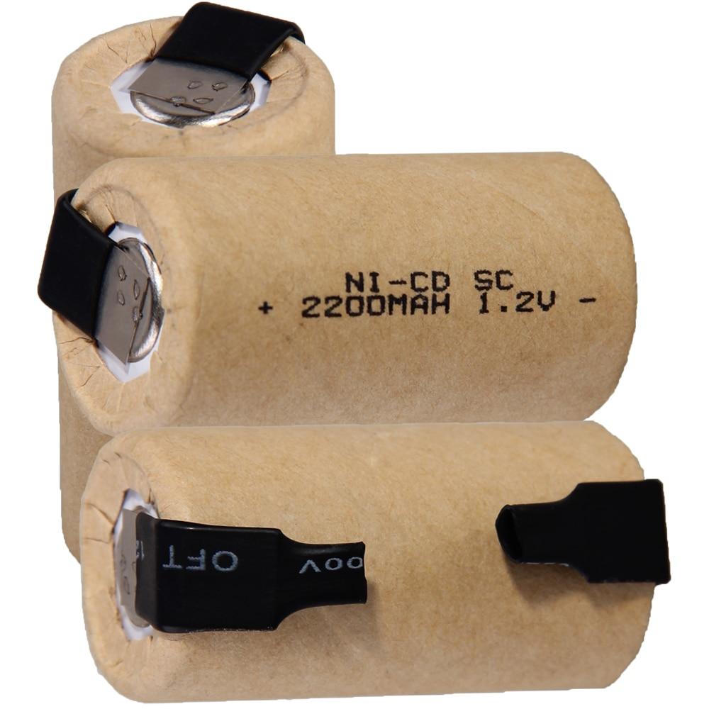 O mais baixo preço 3 peças sc bateria 1.2v baterias recarregáveis 2200 mah nicd bateria para ferramentas elétricas akkumulator