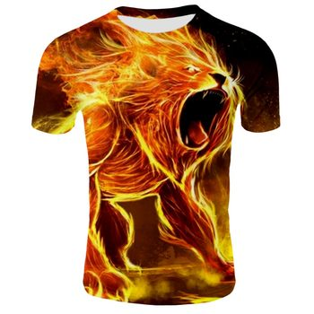 2019 hip hop new 3D t-shirt printing lion T-shirt summer fashion casual round neck shirt