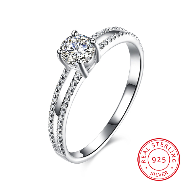 925 sterling silver ring classic women jewelry engagement ring round nice wedding band rings free shipping - Nice Wedding Rings