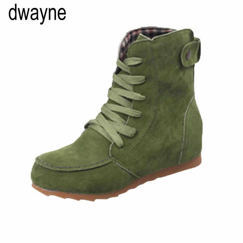 รองเท้าผู้หญิงแบนข้อเท้าหิมะรองเท้าบู๊ตรถจักรยานยนต์หญิง Suede หนัง Lace - Up ยางฤดูหนาวรองเท้าผู้หญิง botas ug ออสเตรเลีย mujer769