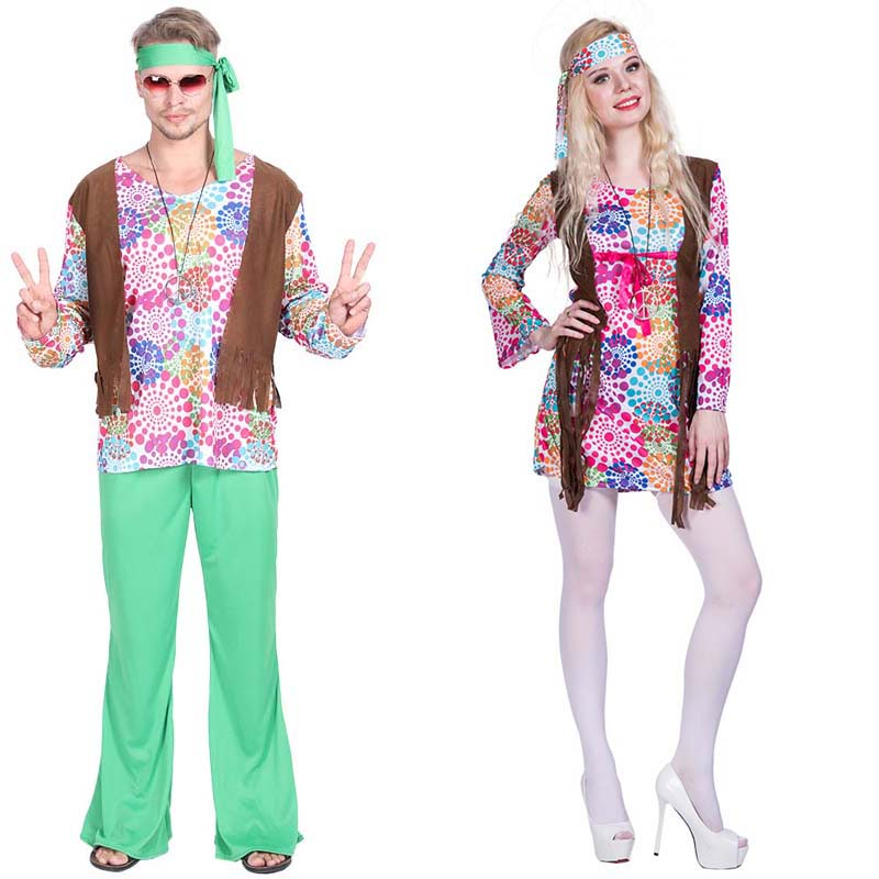 Adult women men flower Retro Hippie Peace And Love Hippie Costume halloweren party cosplay disco costume Women Fancy Dress