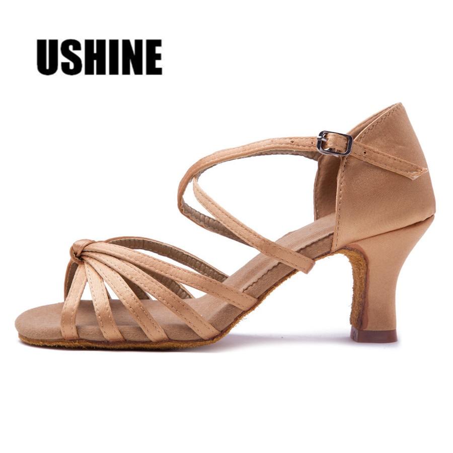 Heel 7cm / 5cm Latin Dancing Shoes Dam Balsal Salsa Dans Skor Zapatos De Baile Latino Mujer WZJ Gratis frakt