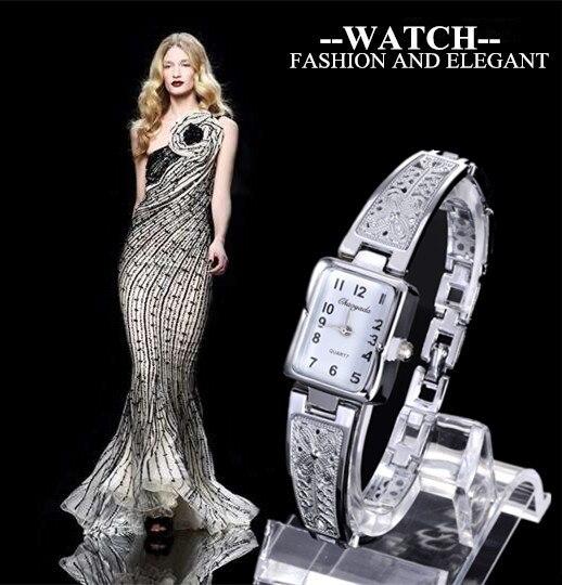 Для женщин Винтаж роскошные золотые + Серебряные часы Элегантные кварцевые Мода прямоугольник циферблатом резной узор браслет Повседневно...