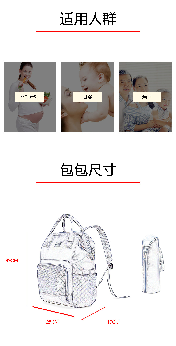 2019 new fashion Diaper bag multi-function Mummy Maternity Nappy Bag Brand Large Capacity Travel Backpack Designer (8)