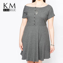 Kissmilk Plus Size New Fashion Women Summer Button Front Casual Short Sleeve Big Size Party A-line Shift Dress 3XL 4XL 5XL 6XL