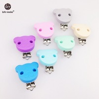 Let's Make 20pc Teddy Bear Shape Pacifier Chain Clip Silicone Clip Selectable Silicone Teething Suspender Clip Beads