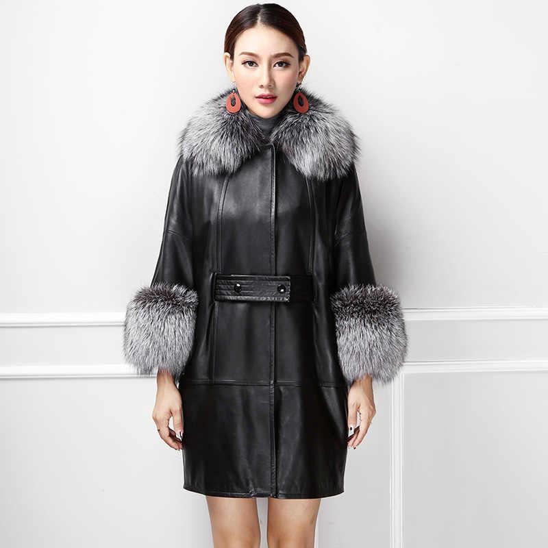2018 frauen Neue Luxus Mode Echtem Schaffell Leder Mantel mit Große Natürliche Echt Fox Pelz Kragen Batwing Hülse Leder Mantel