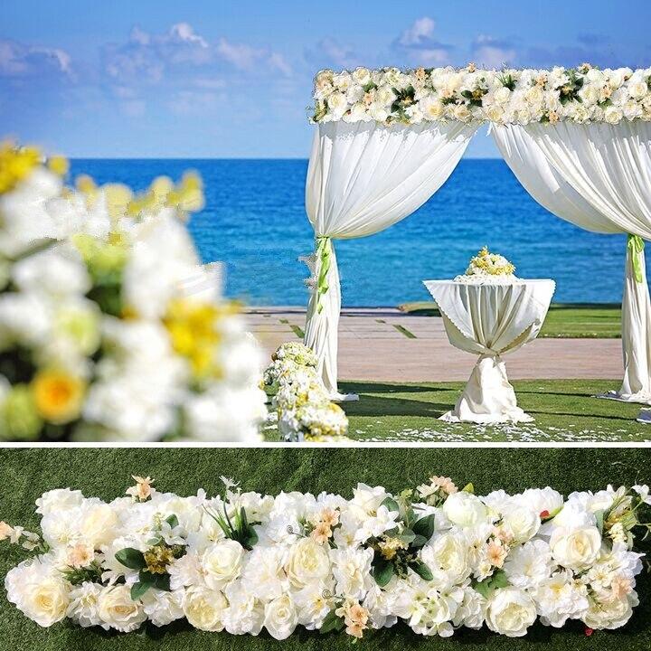 Чистый белый свадебный Pavillion цветы полоски площадь цветок фон цветок стены Свадебные украшения 4 м x 24 см