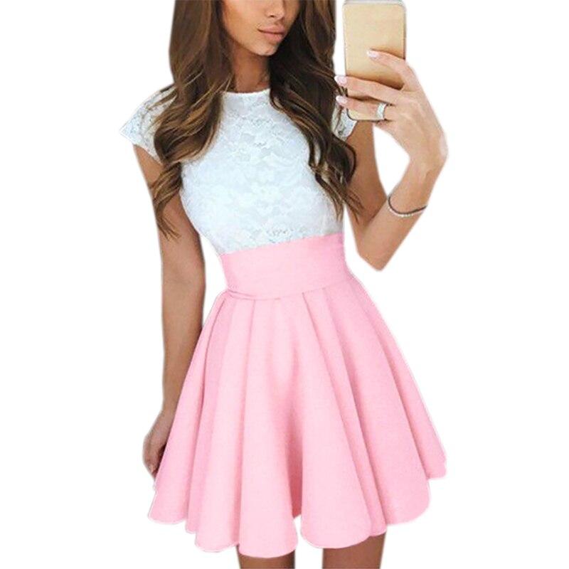 Girls Lace Dress 2017 Summer Women Fashion Cute Lace Stitching Dress Party A Line Mini Dress