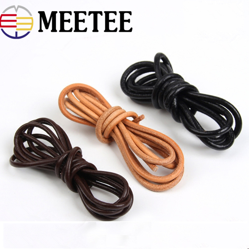 Meetee 5Meter 1 5 2 2 5 3 4 5mm Round Real Genuine Leather Cord Rope for Bracelet Necklace DIY Jewelry Cord Bags Craft Making in Cords from Home Garden