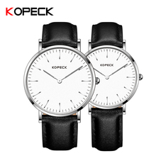 KOPECK Fashion Couple Watches Casual Simple Ultrathin Watch Sapphire Glass Dial Genuine Leather Luxury Lover's Quartz Wristwatch