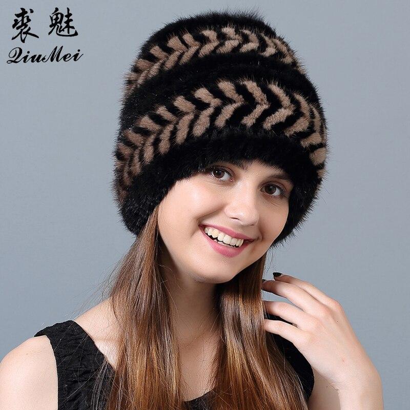 Dámská čepice Zimní luxusní pletená čepice Kožešinová čepice Zimní kožešinová čepice Ruská žena Přírodní Skutečné kožešiny Pompom Cap Zimní čepice pro ženy