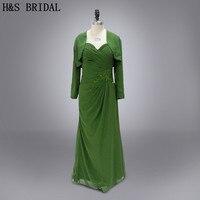 Real photo moeder avondjurk Elegante groene lange mouwen moeder van de bruid jurk met jasje